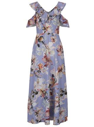 Krémovo-modré kvetované maxišaty s prestrihmi na ramenách Dorothy Perkins