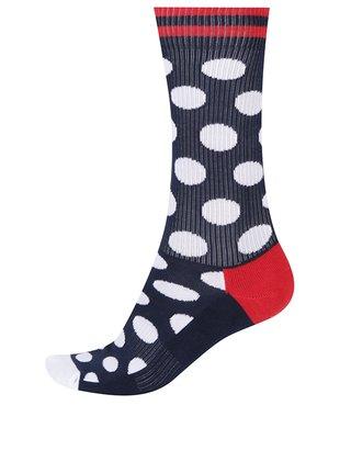 Sosete inalte bleumarin cu buline pentru barbati Happy Socks Athletic Big Dot