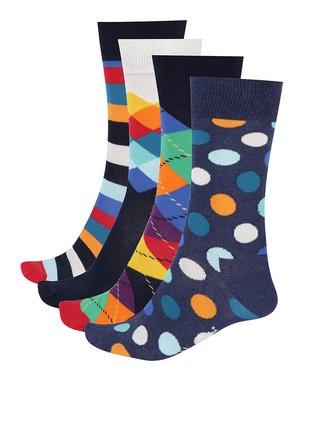 Sada čtyř párů pánských vzorovaných ponožek Happy Socks Mix