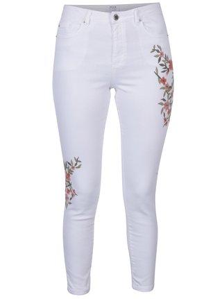 Bílé džíny s květovanou výšivkou Miss Selfridge