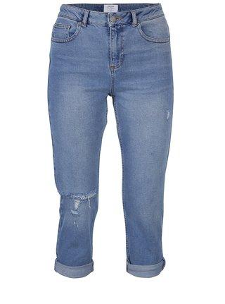 Modré zkrácené džíny s vysokým pasem a potrhaným efektem Miss Selfridge Petites