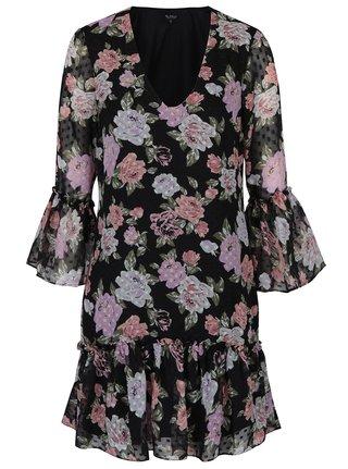 Rochie neagra cu flori si volane - Miss Selfridge