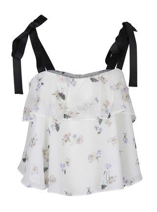Krémová kvetovaná crop blúzka na ramienka s mašľou Miss Selfridge