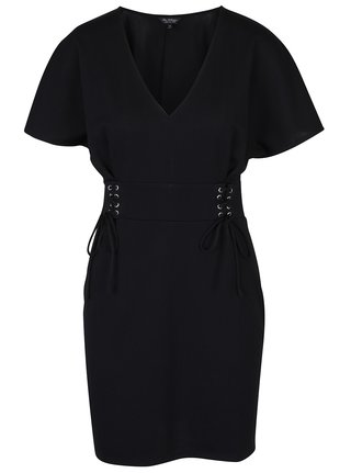 Čierne šaty so šnurovaním v páse Miss Selfridge