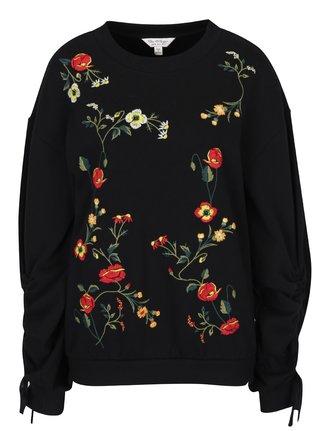 Bluza neagra cu flori brodate -  Miss Selfridge