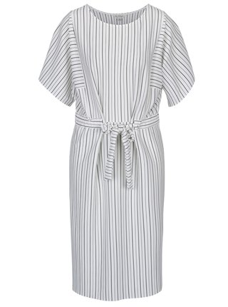 Čierno-krémové pruhované midi šaty Miss Selfridge