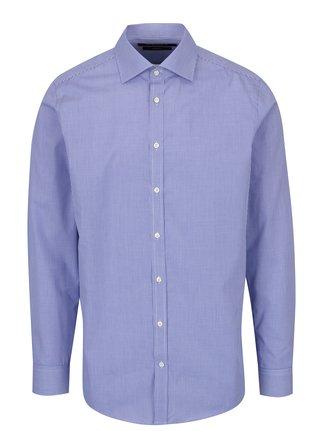 Modrá pánská formální slim fit košile s jemným vzorem STEVULA