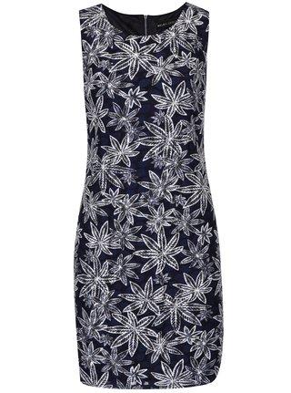 Krémovo-modré šaty s motívom listov Mela London