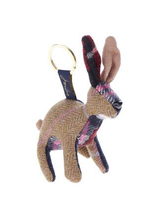 Modro-hnědý dámský kostkovaný přívěsek na klíče ve tvaru zajíce Tom Joule Tweedle Hare
