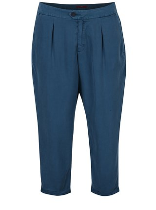 Pantaloni chino albastru petrol cu talie inalta s.Oliver