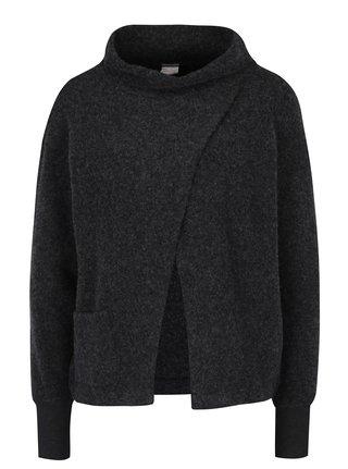 Bluza gri suprapusa cu guler inalt din amestec  de lana - DEHA