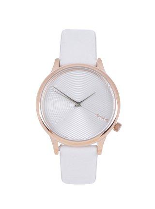 Dámské hodinky s bílým koženým páskem Komono Estelle Deco