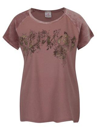 Růžové tričko s potiskem a sametovým rukávem DEHA