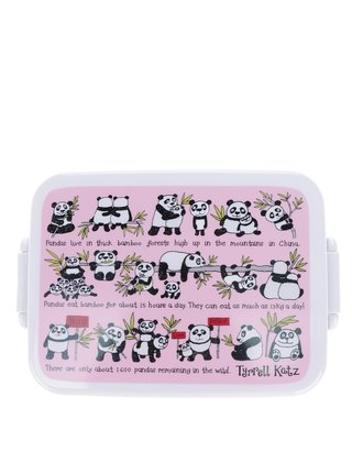 Růžový holčičí svačinový box Tyrrell Katz Pandas