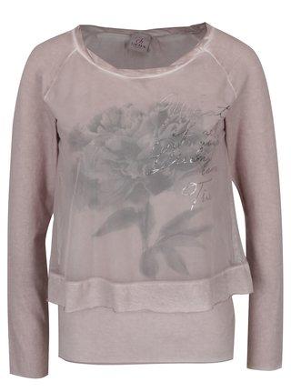 Bluza cu aspect 2 in 1 roz prafuit - DEHA