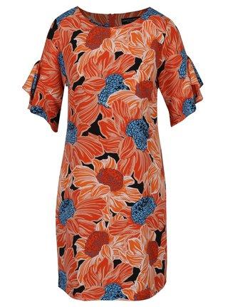 Oranžové kvetované šaty s volánmi na rukávoch Dorothy Perkins