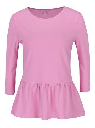 Ružové tričko s 3/4 rukávom a volánom ONLY Live