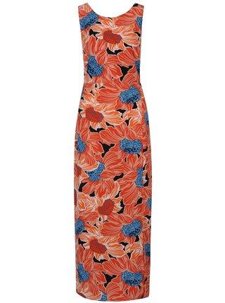 Oranžové kvetované maxišaty bez rukávov Dorothy Perkins