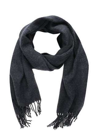 Esarfa tricotata gri inchis cu franjuri Pieces Kial