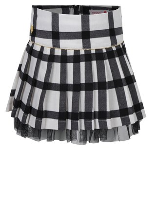Černo-krémová kostkovaná plisovaná holčičí sukně BÓBOLI
