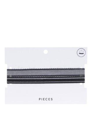 Súprava dvoch čipkovaných chokerov v čiernej farbe Pieces Neel