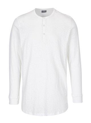 Bluza alba din bumbac cu maneci lungi Jack & Jones Stitch
