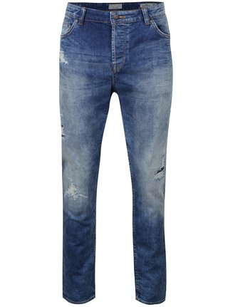 Blugi slim fit albastri cu aspect uzat si deteriorat - ONLY & SONS Loom