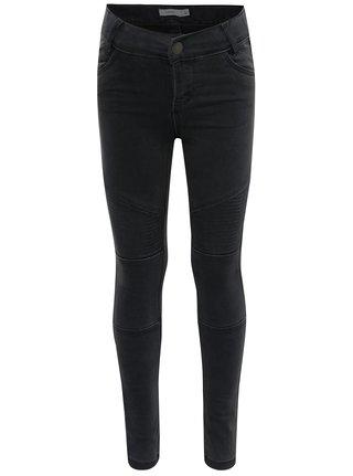 Tmavě šedé holčičí skinny džíny s detaily name it Tirsanne