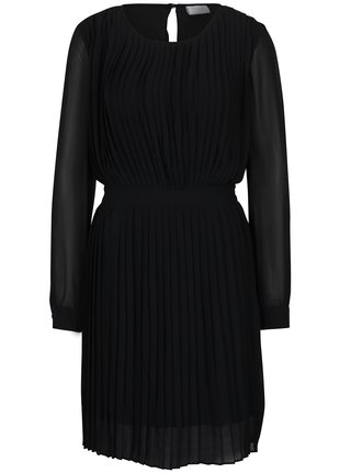 Čierne plisované šaty s prestrihom na chrbte VILA Millie