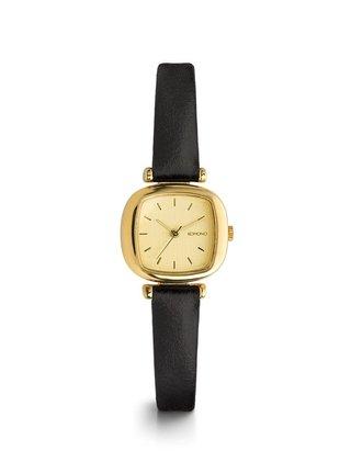 Dámske hodinky v zlatej farbe s čiernym koženým remienkom Komono Moneypenny