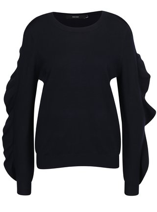 Čierny tenký sveter s volánmi na rukávoch VERO MODA Sky