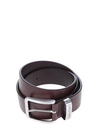 Tmavohnedý pánsky kožený opasok Calvin Klein Mino