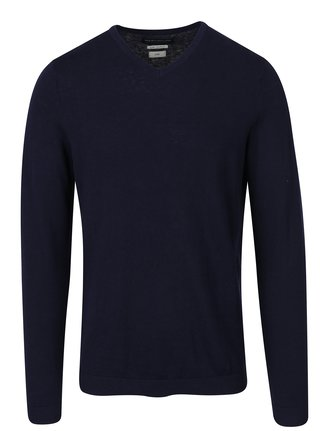 Pulover bleumarin cu decolteu en coeur - Jack & Jones Luke