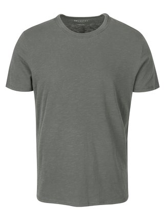 Tricou basic gri - verde - Selected Homme Ben