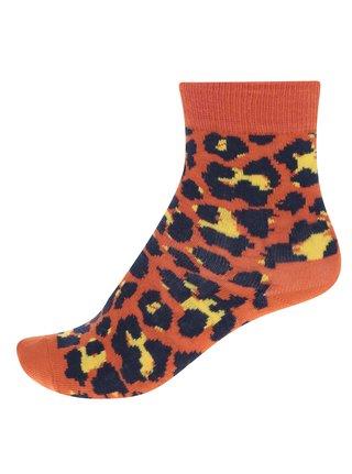 Oranžové detské ponožky s leopardím vzorom Happy Socks Leopard