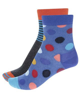 Sada dvoch párov detských vzorovaných ponožiek v sivej a modrej farbe Happy Socks Big Dot