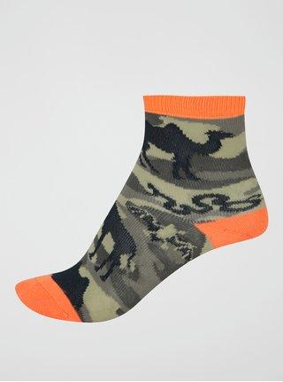 Khaki maskáčové chlapčenské ponožky s afrikou Sock It to Me Animal Camo