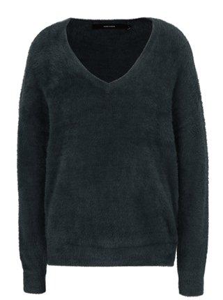 Tmavozelený voľný sveter s véčkovým výstrihom VERO MODA Moraga