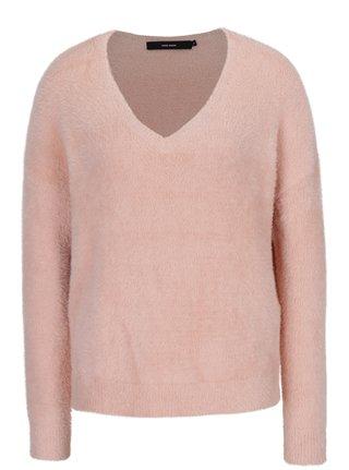 Svetloružový voľný sveter s véčkovým výstrihom VERO MODA Moraga