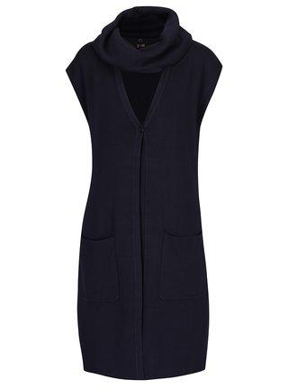 Tmavě modrá dlouhá vesta s dutou šálou Yest
