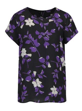 Bluza neagra cu print floral VERO MODA Alissa