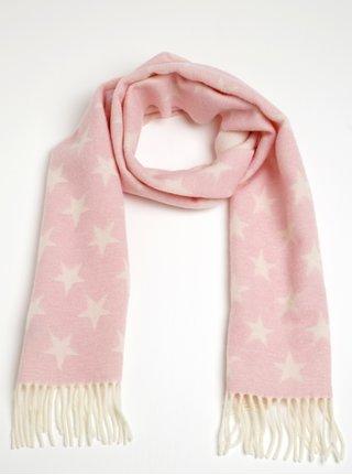Svetloružový dámsky vlnený šál s motívom hviezd GANT