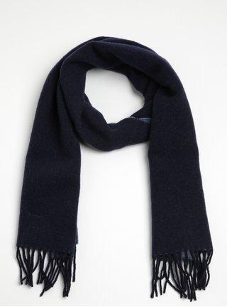 Tmavomodrý dámsky vlnený šál so strapcami GANT