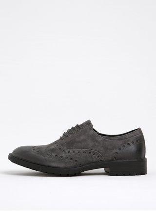 Pantofi gri din piele intoarsa pentru barbati Geox Kapsian