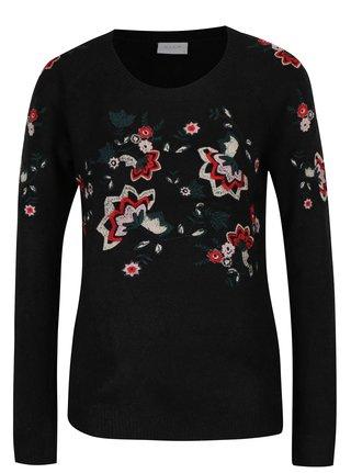 Čierny sveter s výšivkami kvetín VILA Estoni