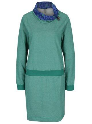 Zelené žíhané mikinové šaty s vysokým límcem Tranquillo Macarena