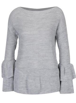 Pulover gri tricotat cu decolteu barcuta - Haily's Nadine