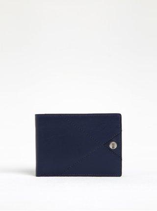 Tmavomodrá kožená peňaženka s prešívanými detailmi Dice Harper Range