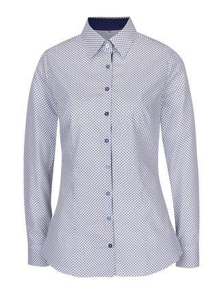 Bílá dámská košile s tmavě modrým vzorem VAVI