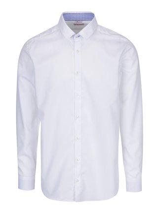 Bílá pánská formální košile s vzorovaným lemem VAVI
